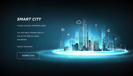 Smart City low poly estructura metálica sobre fondo azul.Ciudad futura abstracta o metropolis.Sistema de automatización de edificios inteligente concepto empresarial.Espacio poligonal low poly con puntos y líneas conectados.Vecto