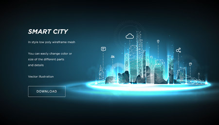Smart city low poly wireframe su sfondo blu.Città futura astratta o metropoli.Intelligent building automation system concetto aziendale.spazio poligonale low poly con punti e linee collegati.Vecto