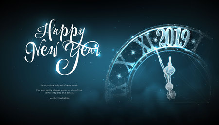 Happy  New Year 2019. lock in style Low poly wireframe art on blue background. Concept for holiday or magic or miracle. Effect Starry sky. Polygonal illustration with connected dots and lines. Vector