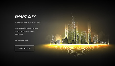 Ciudad inteligente estructura metálica de baja poli sobre fondo oscuro. Resumen de alta tecnología de la ciudad o metrópolis. Concepto de negocio de sistema de automatización de edificios inteligente. Espacio poligonal bajo poli con puntos y líneas conectados