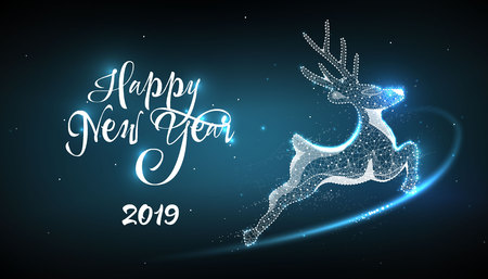Happy New Year 2019. Deer in style Low poly wireframe on blue background. Banner or postcard. Effect Starry sky. Illustration with connected dots and lines. vector wireframe mesh