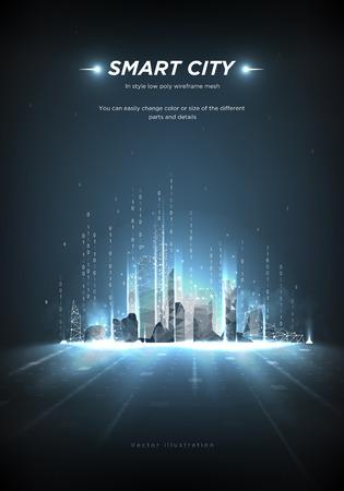 Ciudad inteligente estructura metálica de baja poli sobre fondo azul. Ciudad futura abstracta o metrópolis. Automatización inteligente de edificios. Secuencia de código binario. Polígono bajo del espacio poligonal con puntos y líneas conectados.