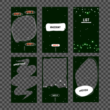 Mock up. New Year Christmas template for social network, - story. Template design for story. Editable Stories template. Mockup for photo isolated on transparent background. Vector illustration 일러스트
