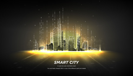 City of the Abstract low poly wireframe on dark background.Concept of smart cityand flow binary code.Plexus lines and points in the constellation.Polygonal particles.Vector 3d Standard-Bild - 115480313