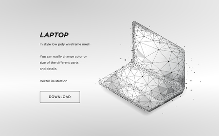 Laptop low poly wireframe on light background.Laptop hi-tech illustration.Concept network tehnology.Symbol future or innovation.Plexus lines and points in the constellation.Vector particles