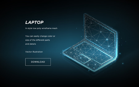 Laptop low poly wireframe on dark background.Laptop hi-tech illustration.Concept  internet, digital, devices, computer.Symbol future or innovation.Plexus lines and points in the constellation.Vector