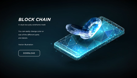 Blockchain link sign and Smartphone of the low poly wireframe on dark background.Concept of Internet technology, security.Plexus lines and points in the constellation.Polygonal particles.Vector 3d