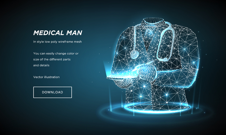 Doctor of the Abstract low poly wireframe on dark background.Concept of health, medical.Reception at the doctor.Plexus lines and points in the constellation.Polygonal particles.Vector 3d.