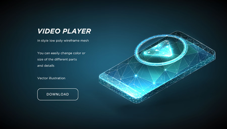 Player Icon and Smartphone of the low poly wireframe on dark background.Concept of online video or training or education.Subscribe.Plexus lines and points in the constellation.Polygonal particles.Vect