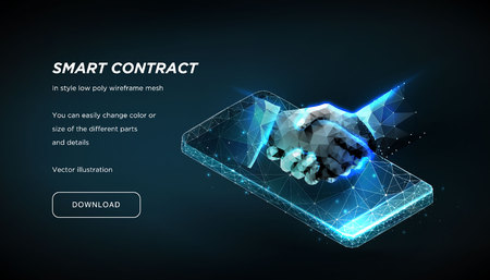 Handshake on the background of the smartphone of the low poly wireframe on dark background.Concept of e-signature. Signing a contract or Online contract.Plexus lines and points in the constellation.Ve - Vector