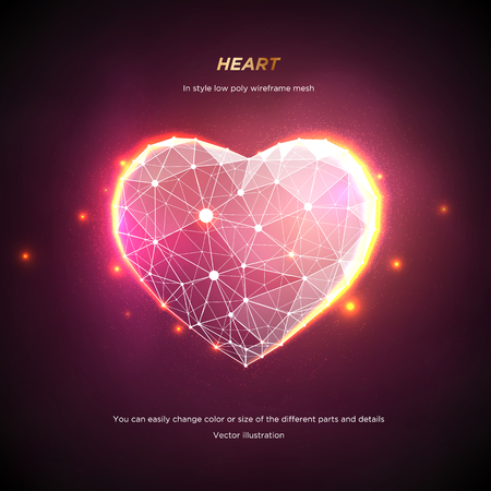 Heart in style Low poly wireframe mesh. Abstract on pink background. Concept Love or technology. Plexus lines and points in the constellation. Particles are connected in a geometric shape. Starry sky. 일러스트