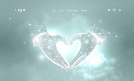 Hands of shape Heart. Abstract image on blue background. Low poly wireframe. Gesture hands god. Love symbol. Plexus lines and points in the constellation. Particles are connected in a geometric shape. 일러스트