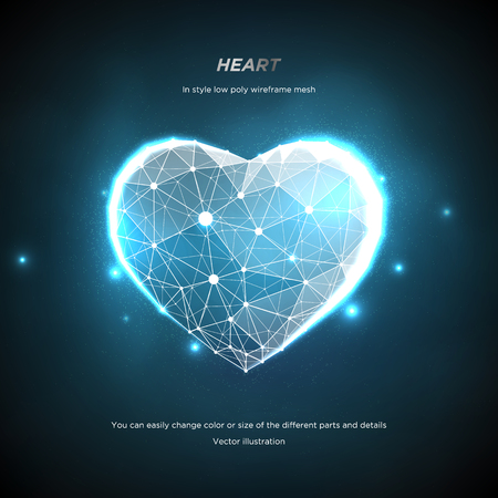 Heart in style Low poly wireframe mesh. Abstract on blue background. Concept Love or technology. Plexus lines and points in the constellation. Particles are connected in a geometric shape. Starry sky. 일러스트