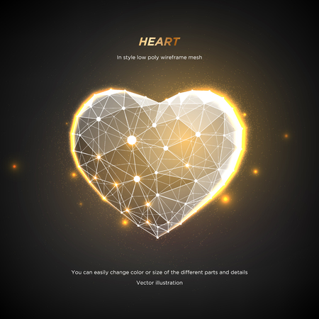 Heart in style Low poly wireframe mesh. Abstract on dark background. Concept Love or technology. Plexus lines and points in the constellation. Particles are connected in a geometric shape. Starry sky. 일러스트