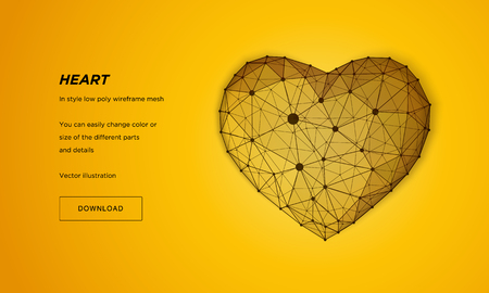 Heart in style Low poly wireframe mesh. Abstract on yellow background. Concept Love. Plexus lines and points in the constellation. Particles are connected in a geometric shape.
