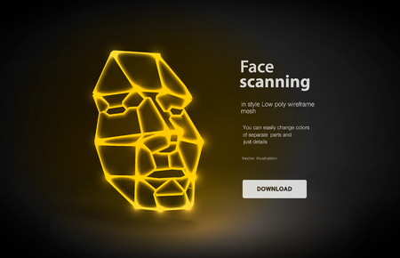 Face low poly art illustration. Concept of face detection by scanning technology advancement, human head. Face recognition. Polygonal space low poly with connected dots and polygon lines. 3D vector