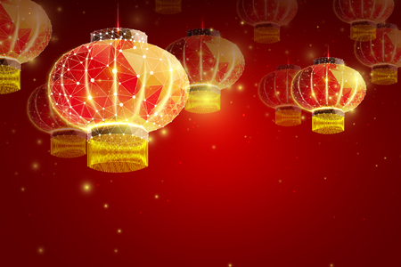 Happy Chinese New Year 2019 year. Low poly wireframe art lamp on red background. Illustration in the form of a starry sky or space, consisting of points, lines, and shapes in the form of stars.Vector