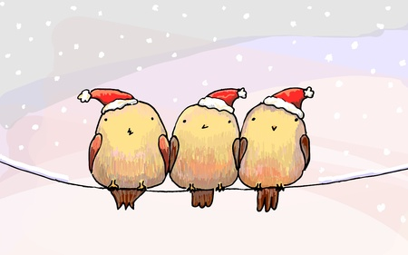 Three fat birds in a Christmas hats seating in a wire  Vector illustration