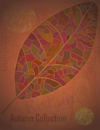 Autumn Collection advertising Poster with a mosaic leaf  Fashion vector illustration
