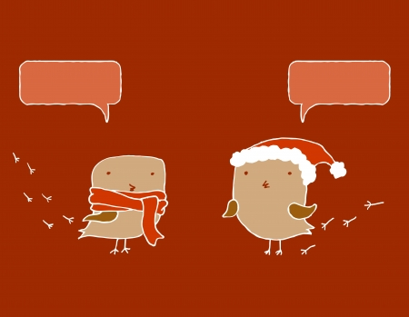 Two Christmas birds with speech bubbles  Vector image