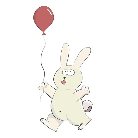 Isolated cute happy rabbit playing with helium balloon  Vector image