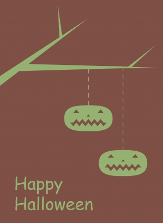 Two pumpkins tied to a branch  Simple graphic Halloween vector background  Illustration