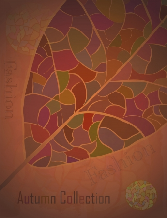 Autumn Collection advertising Poster with a mosaic leaf. Fashion