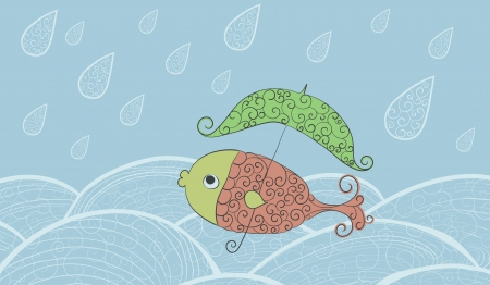 A fish with an umbrella, swimming in the water in the rain.  Illustration