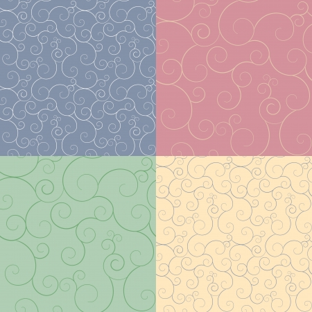 Set of four seamless swirly patterns Stock Vector - 15605899