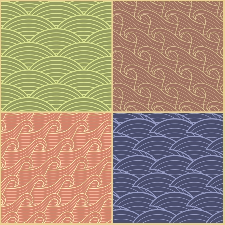 Set of four seamless abstract wave
