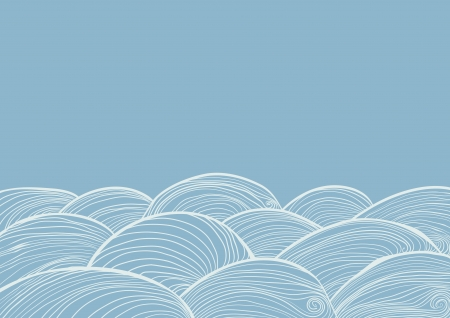 Hand drawn waves of water, vector background.