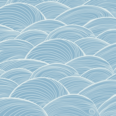 Hand drawn waves of water Vector