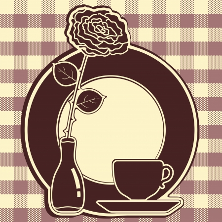 Big icon with rose and cup Stock Vector - 15686605