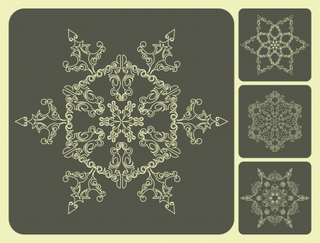Set of pattern snowflakes. Illustration