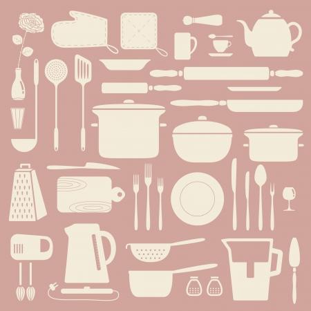 kitchen tools: Keuken silhouet set, vector patroon Stock Illustratie