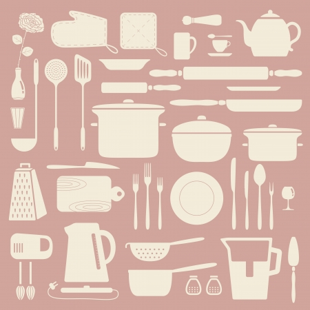 kitchen utensils: Kitchen silhouette set, vector pattern