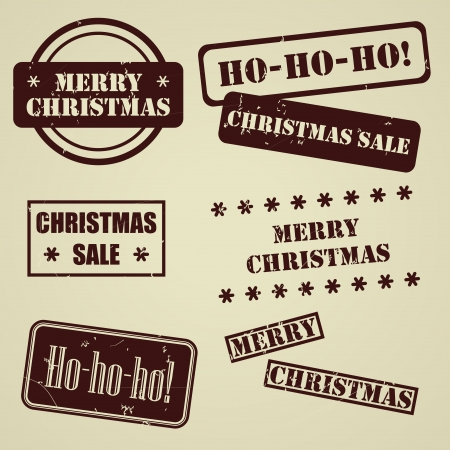 Set of vector stamps for Christmas holiday