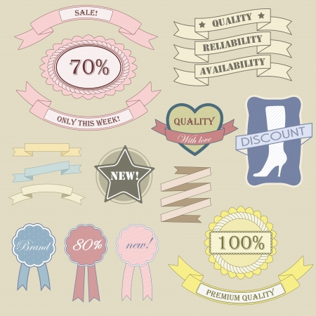Vintage labels and ribbon retro style set. Vector design elements. Illustration