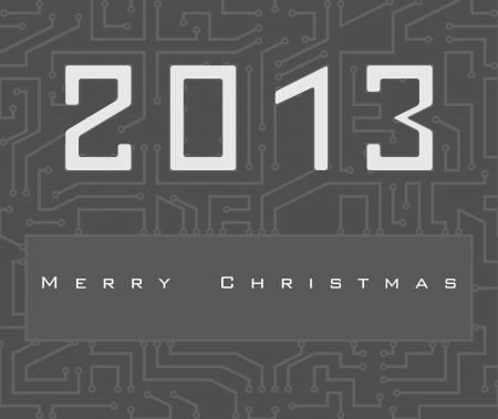 Vector Christmas card with 2013 number on digital electronic circuit