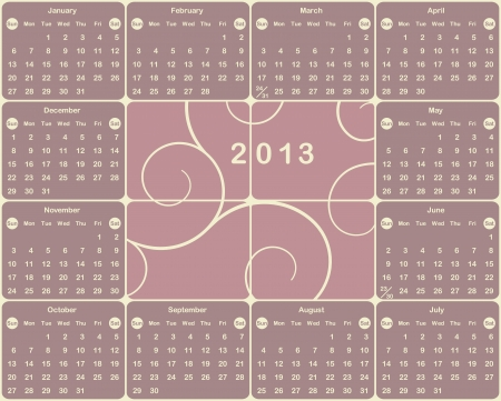 Vector American calendar for 2013 year  Vector