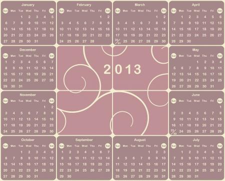 mon 12: Vector American calendar for 2013 year  Illustration