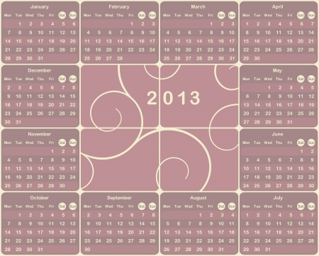 Vector European calendar for 2013 year  Vector