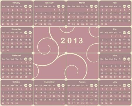 mon 12: Vector European calendar for 2013 year