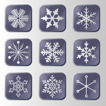 Set of snowflakes buttons  Vector design elements  Stock Vector - 16476445