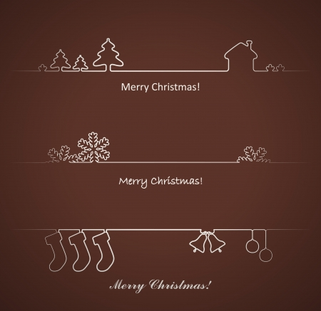 Set of design elements for Christmas cards decoration  Vector