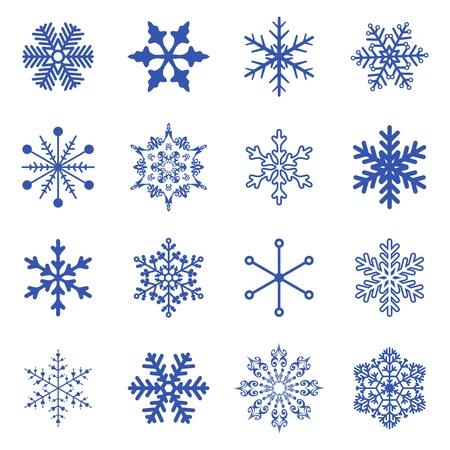 set of simple snowflakes