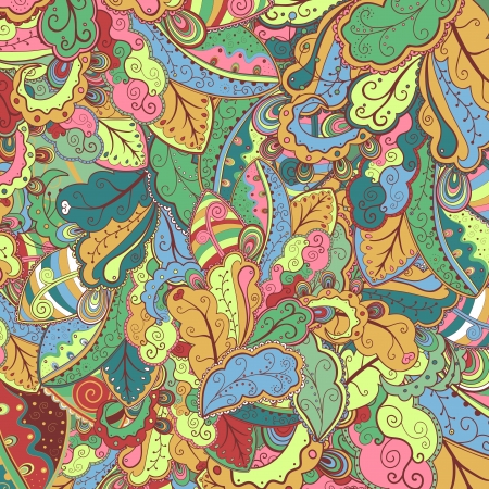 psychoanalysis: Floral colorful abstract hand-drawn pattern  Illustration