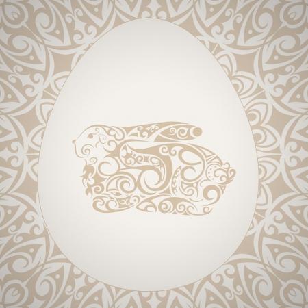 Patr�n elegante marco de Pascua con huevo y conejo
