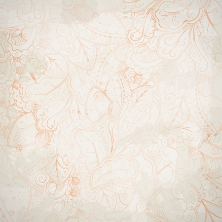 Grunge floral abstract hand-drawn pattern.  Illustration
