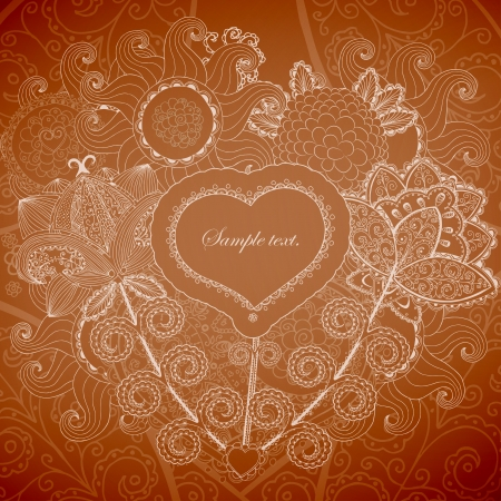 Valentines day background. Heart and flower pattern  Stock Vector - 17031570